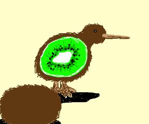 cut open kiwi bird to reveal kiwi fruit inside