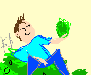 a guy sitting on money and looking at lettuce