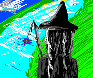A Witch fishing