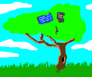 A computer is up in a tree.