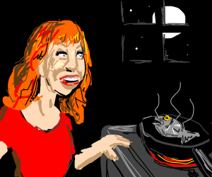 kathy griffin cooks a fish at night