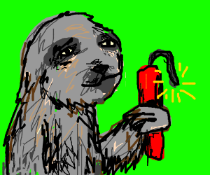 Sloth holding TNT