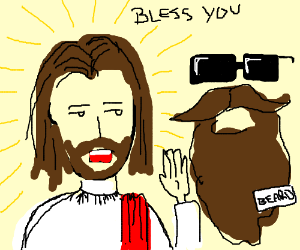 Jesus blessing his radical beard