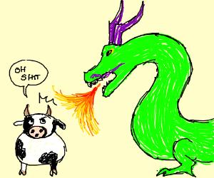 Dragon Burns Cow