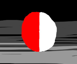 A red colored ball, half red half white. drawing by ...