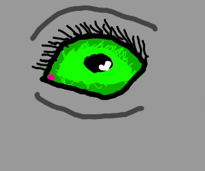grey person's green eye up close