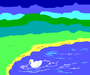 A beautiful landscape with a duck on the water