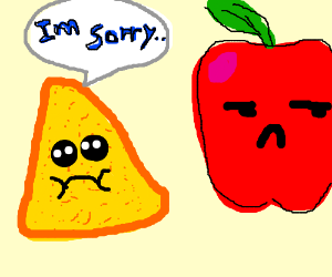nacho apologising to an apple