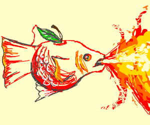 Fishapple breathing fire