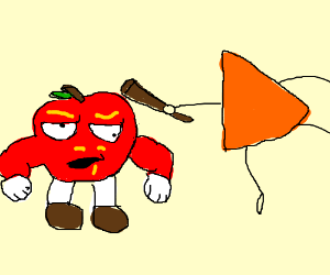 muscular apple getting attacked by a dorito
