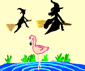 Sorceress and wizard fighting over a flamingo