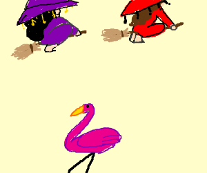 2 witches flying over a flamingo