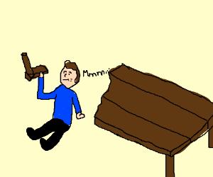 man eats wooden table