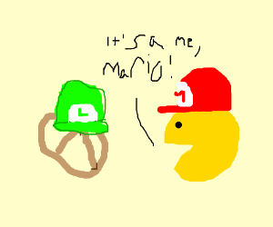 Luigi Is A Pretzel Mario Is A Pacman Drawing By Renmei Drawception
