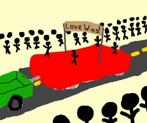 """Gay pride parade-""""love wins"""" & people cheer"""
