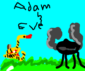 adam and eve grilling out