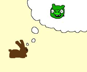 Bunny thinking of Green Pig