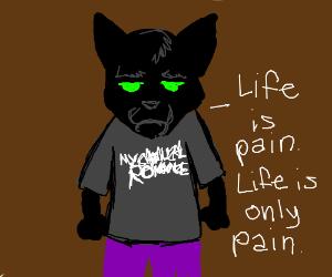 Edgy black humanoid cat