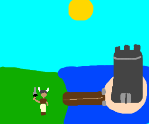 Barbarian at the moat of fortress island