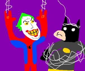 The Joker's head on Spiderman's body.