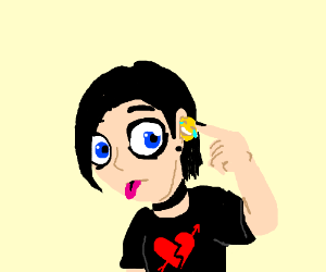 Emo kid inserts an emoji into his ear