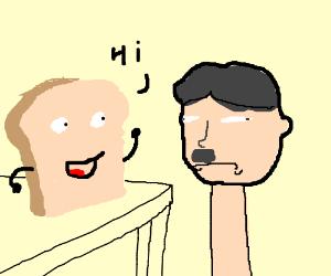 Beard man says hi to hitler