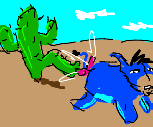 Eeyore's tale gets kicked by a cactus