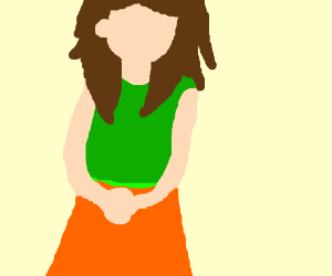 An orange and green drees?