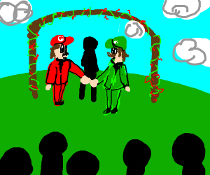 luigi getting engaged with mario