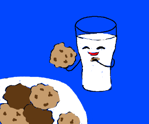 glass of milk eats cookies