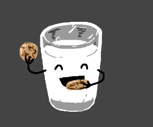 A glass of milk eating cookies