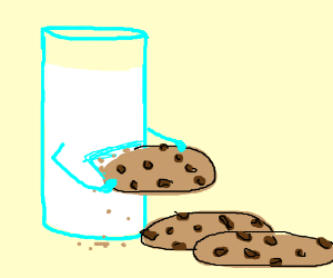 glass of milk eats the cookies