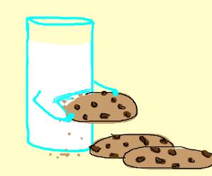 glass of milk eats the cookies