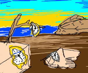 salvador dali s melting clocks painting drawing by kierbrony