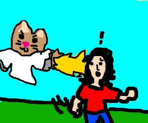 Evil cat angel attacks.