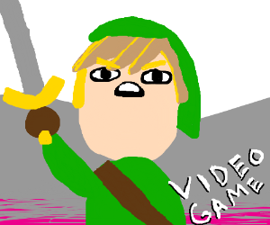 "The green guy from Zelda is named ""video game"""