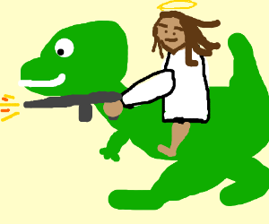 Jesus riding a T-Rex and firing an M16