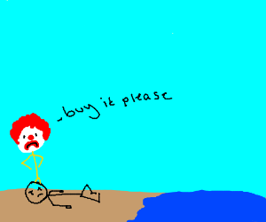 Clown sadly begs by the beach