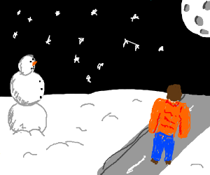 singing on a walk, on winter night