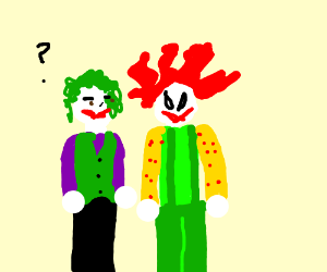 The Joker Next To An Evil Clown Drawing By 50cement Drawception