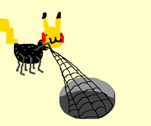 spider pikachu who spins black webs from pits