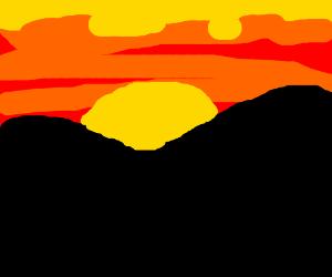 Beautiful sunset over a mountain