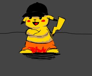 Pikachu happy with orange pants & black cap