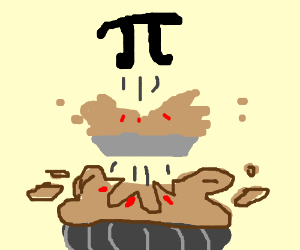 Pi exploding from pie exploding from pie