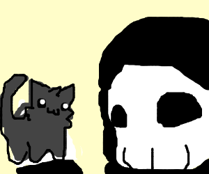 The grim reaper and his itty bitty kitty.