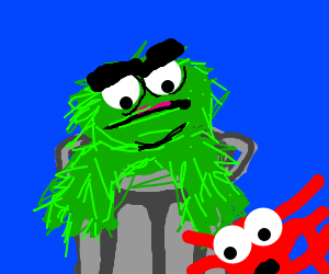 Oscar the Grouch & some red thing with 6 arms