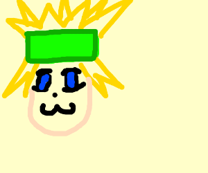 blonde anime dude with green headband/ coffin