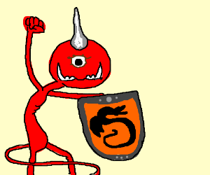 One horned devil holds knights shield