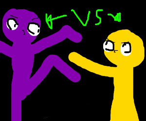 Complementary colour rumble! Purple v yellow
