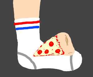Pizza on a sock